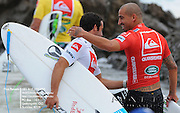 Gold Coast, Australia - February 27: Bobby Martinez hugs Tiago Pires(L) before their round 1 heat of the Quiksilver Pro Gold Coast 2010 presented by Land Rover at Snapper Rocks on the Gold Coast, February 27, 2010 Photo by Matt Roberts/MATTRimages.com.au