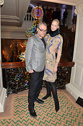 DAVID DOWNTON and JADE PARFITT at the Claridge's Christmas Tree By Dolce & Gabbana Launch Party held at Claridge's, Brook Street, London on 26th November 2013.
