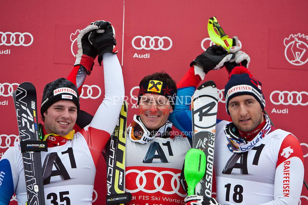 22.01.2012, Ganslernhang, Kitzbuehel, AUT, FIS Weltcup Ski Alpin, 72. Hahnenkammrennen, Herren, Kombination Podium im Bild Podium Kombinationswertung v.l.n.r.  Beat Feuz (SUI, Platz 2), Ivica Kostelic (CRO, Platz 1) und Silvan Zurbriggen (SUI, Platz 3) // f.l.t.r. second place Beat Feuz of Switzerland, first Place Ivica Kostelic of Croatia and third place Silvan Zurbriggen of Switzerland on podium Kombination of 72th Hahnenkammrace of FIS Ski Alpine World Cup at 'Ganslernhang' course in Kitzbuhel, Austria on 2012/01/22. EXPA Pictures © 2012, PhotoCredit: EXPA/ Markus Casna