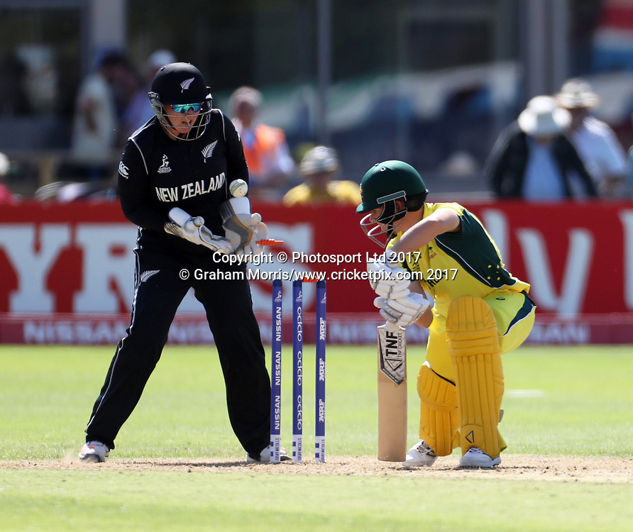 Elyse Villani is bowled first ball by Amelia Kerr during the Women's World Cup fifty over match between Australia and New Zealand at the County Ground, Bristol. Photo: Graham Morris /www.photosport.nz