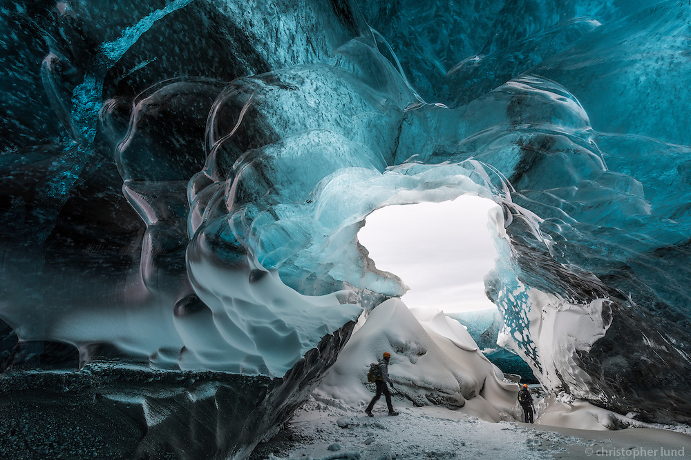 Brad Rogers and Andrew Hancock exploring an Ice Cave in Vatnajökull glacier, Southeast Iceland.