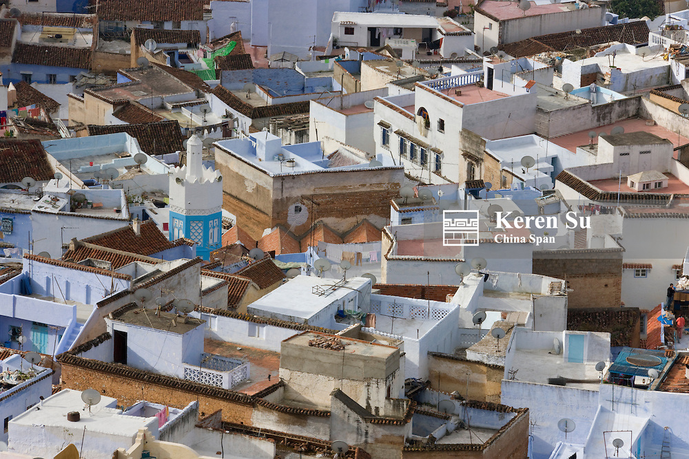Overview of houses on the Riff Mountains, Chefchaouen, Morocco