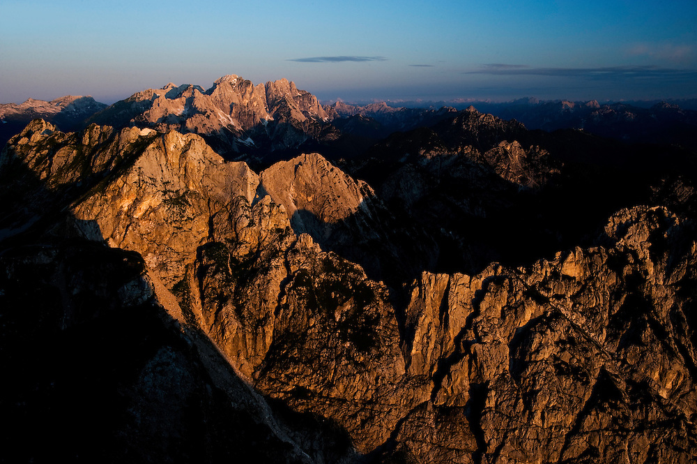 view from Mount Mangart to Italy, Julian Alps<br /> Triglav National Park, Slovenia<br /> July 2009