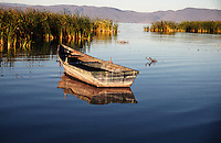 Small boat in early morning light, Lake Chapala Mexico