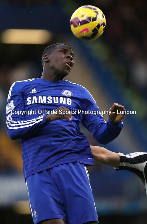 10 January 2015 Premier League Football - Chelsea v Nerwcastle United ;  Kurt Zouma of Chelsea heads the ball.<br /> Photo: Mark Leech