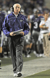 Oct 07, 2010; Manhattan, KS, USA; Kansas State Wildcats head coach Bill Snyder walks the sidelines in the first half of the game against the Nebraska Cornhuskers at Bill Snyder Family Stadium. Mandatory Credit: Denny Medley-US PRESSWIRE