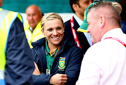 Mignon du Preez of South Africa Women smiles despite the Women's World Cup match against New Zealand Women is abandoned due to rain - Mandatory by-line: Robbie Stephenson/JMP - 28/06/2017 - CRICKET - County Ground - Derby, United Kingdom - South Africa Women v New Zealand Women - ICC Women's World Cup Match 6