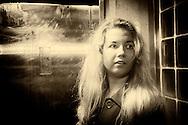 Girl at Station at Night, Sepia