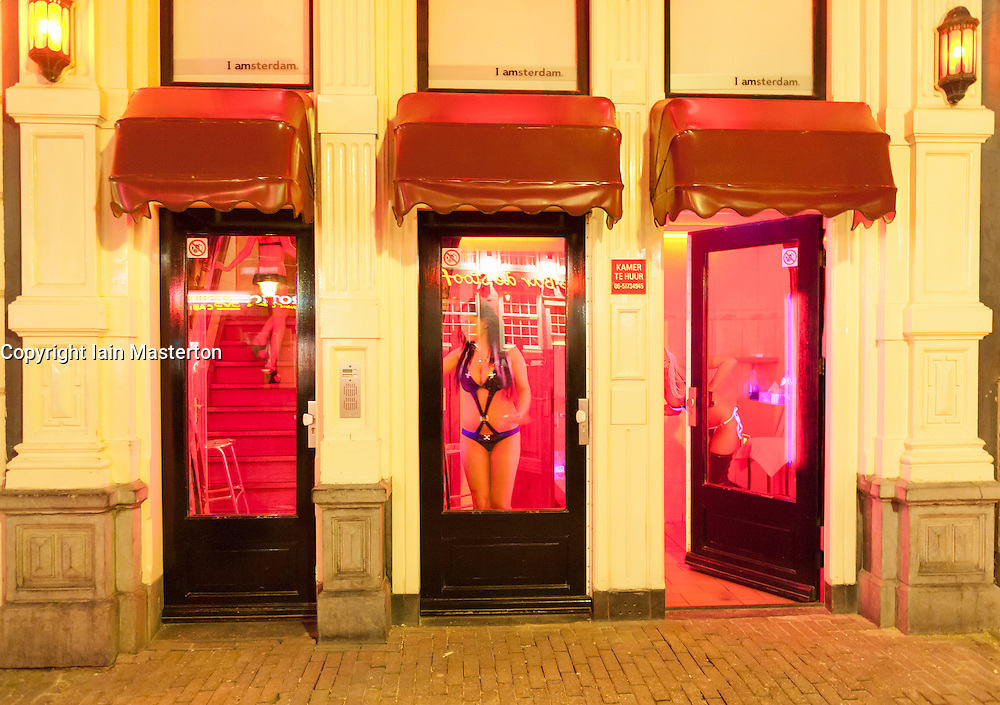 Prostitutes in windows in Red Light District in Amsterdam The Netherlands