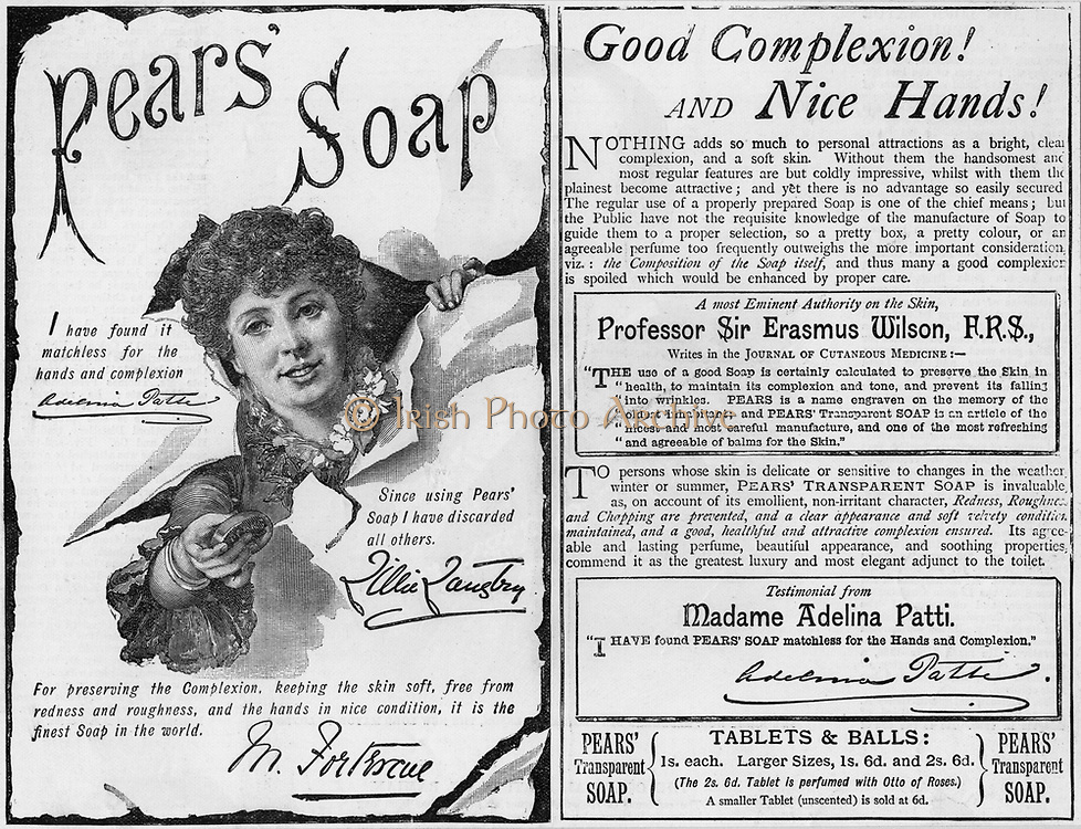 Advertisment for Pears' soap using endorsements from famous people including the soprano Adelina Patti and the actress Lillie Langtry.  From 'The Illustrated London News'. (London, 6 November 1886).