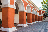 archs and columns in Santa Catalina monastery in the peruvian Andes at Arequipa Peru