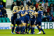 Scotland players celebrate Scotland's second goal (2-0) scored by Kim Little (#8) of Scotland during the Women's Euro Qualifiers match between Scotland Women and Cyprus Women at Easter Road, Edinburgh, Scotland on 30 August 2019.