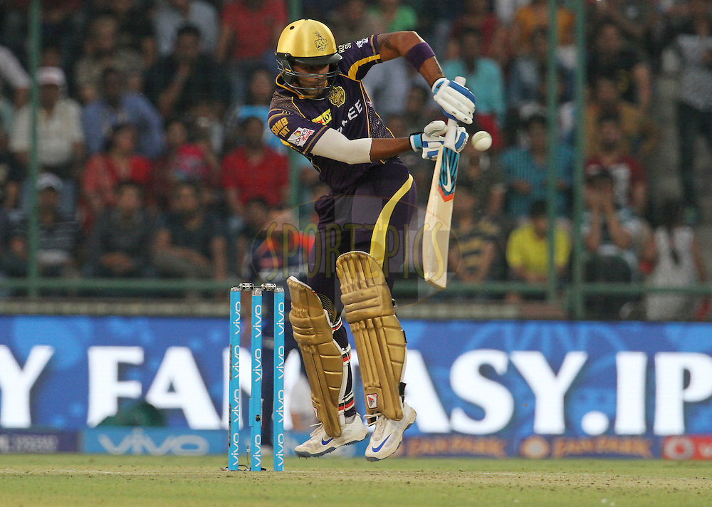 Kolkata Knight Riders player Suryakumar Yadav plays a shot during match 24 of the Vivo Indian Premier League ( IPL ) 2016 between the Mumbai Indians and the Kolkata Knight Riders held at the Wankhede Stadium in Mumbai on the 28th April 2016<br /> <br /> Photo by Vipin Pawar / IPL/ SPORTZPICS
