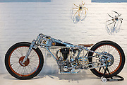 DUBAI, UAE - APRIL 30, 2016: The 'Unique Motorcycles' of artist Chicara Nagata are displayed at the MB&F M.A.D. (Mechanical Art Devices) Gallery located in Alserkal Avenue in Dubai' Al Quoz Industrial Area.