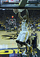 January 14, 2011: Iowa Hawkeyes forward Melsahn Basabe (1) dunks the ball during the NCAA basketball game between the Michigan Wolverines and the Iowa Hawkeyes at Carver-Hawkeye Arena in Iowa City, Iowa on Saturday, January 14, 2011. Iowa defeated Michigan 75-59.