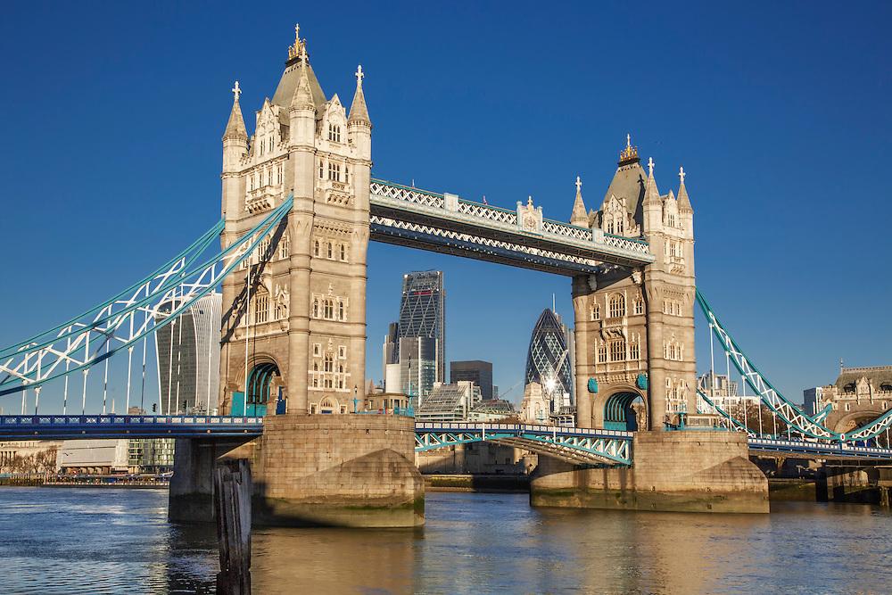 Tower Bridge against a clear blue sky