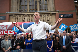 © Licensed to London News Pictures . 22/06/2016 . Birmingham , UK . TIM FARRON speaks . British Conservative Party Prime Minister David Cameron , Tim Farron and Paddy Ashdown from the Liberal Democrat Party and Harriet Harman from the Labour Party , attend a joint rally at Birmingham University in support of the REMAIN in EU campaign , ahead of referendum polling opening tomorrow morning (23rd June 2016) . Photo credit: Joel Goodman/LNP