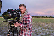 Filming as dusk approaches on Liuwa Plain
