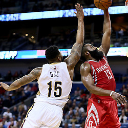 Jan 25, 2016; New Orleans, LA, USA; Houston Rockets guard James Harden (13) attempts a shot at the buzzer past New Orleans Pelicans forward Alonzo Gee (15) the shot was ruled no basket after an officials review at the end of the second quarter of a game at the Smoothie King Center. Mandatory Credit: Derick E. Hingle-USA TODAY Sports