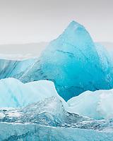 Icebergs in the Jökulsárlón glacial lagoon, southeast Iceland.
