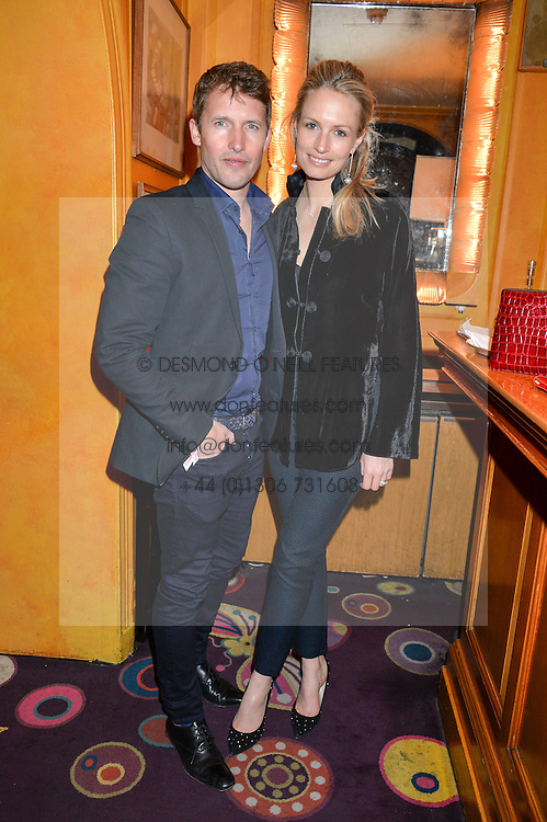 JAMES BLUNT and his wife SOFIA at an intimate performance by Jessie Ware at Annabel's, Berkeley Square, London on 20th April 2016.