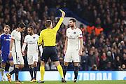 Paris Saint Germain midfielder Thiago Motta (8) yellow card during the Champions League match between Chelsea and Paris Saint-Germain at Stamford Bridge, London, England on 9 March 2016. Photo by Matthew Redman.