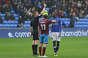 Yellow card for Ousmane Fane Oldham Midfielder during the EFL Sky Bet League 1 match between Oldham Athletic and Scunthorpe United at Boundary Park, Oldham, England on 28 October 2017. Photo by George Franks.