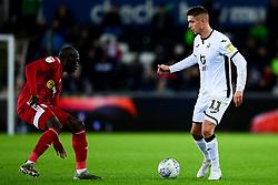 Kristoffer Peterson of Swansea City is marked by Aboubakar Kamara of Fulham - Mandatory by-line: Ryan Hiscott/JMP - 29/11/2019 - FOOTBALL - Liberty Stadium - Swansea, England - Swansea City v Fulham - Sky Bet Championship