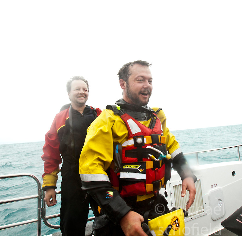 Nick Hancock back on the Orca 3, after his reconnaissance mission for a future 60 day occupation of Rockall. The Rockall Jubilee Expedition, a unique endurance expedition to be undertaken by Nick, in order to raise funds for Help for Heroes .©Michael Schofield..