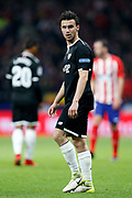 Valencia's French defender Sebastien Corchia reacts during the Spanish Cup, Copa del Rey quarter final, 1st leg football match between Atletico Madrid and Sevilla FC on January 17, 2018 at Wanda Metropolitano stadium in Madrid, Spain - Photo Benjamin Cremel / ProSportsImages / DPPI