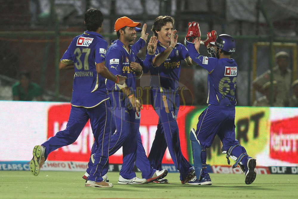 Rajasthan Royals celebrate Brad Hodge of the Rajasthan Royals catch during match 30 of the the Indian Premier League (IPL) 2012  between The Rajasthan Royals and the Royal Challengers Bangalore held at the Sawai Mansingh Stadium in Jaipur on the 23rd April 2012..Photo by Shaun Roy/IPL/SPORTZPICS