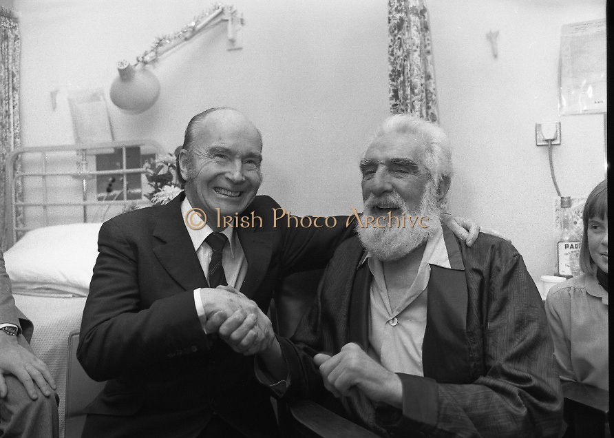 Noel Purcell Celebrates His 81st Birthday.23.12.1981..12.23.1981..23rd December 1981.. Noel Purcell celebrates his 81st birthday in the Adelaide Hospital.It's time to go the President, Mr Hillary bids farewell to Noel