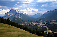The town of Banff, Alberta and Mt Rundle from an overlook up on Mt Norquay Scenic Drive.