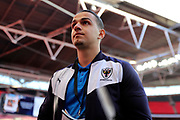AFC Wimbledon attacker Egli Kaja (21) walking off the pitch during the The FA Cup 3rd round match between Tottenham Hotspur and AFC Wimbledon at Wembley Stadium, London, England on 7 January 2018. Photo by Matthew Redman.