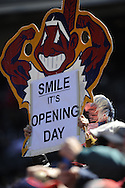 CLEVELAND, OH USA - APRIL 5: A fan with an opening day sign before the game between the Cleveland Indians and Toronto Blue Jays at Progressive Field in Cleveland, OH, USA on Thursday, April 5, 2012.