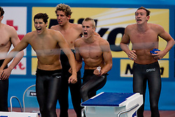 Second placed team of Russia (LOBINTSEV Nikita, POLISHUK Michail, IZOTOV Danila) during the  Men's 4x 200m Freestyle Final  during the 13th FINA World Championships Roma 2009, on July 31, 2009, at the Stadio del Nuoto,  in Foro Italico, Rome, Italy. (Photo by Vid Ponikvar / Sportida)
