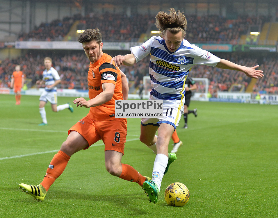 Stewart Murdoch (Dundee United) and Aidan Nesbitt (Morton) during the SPFL Premiership quarter final play-off 2nd leg between Dundee United and Greenock Morton, where the home side went into the match with a 2-1 lead from the first leg, which proved too much for the Greenock side to overcome, as a win ensured the Tayside club progressed to the play-off semi final against Falkirk.<br /> <br /> (c) Dave Johnston | sportPix.org.uk