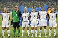 21 August 2008: Christie Rampone (USA) (3), Hope Solo (USA) (1), Heather Mitts (USA) (2), Lindsay Tarpley (USA) (5), Shannon Boxx (USA) (7), and Amy Rodriguez (USA) (8) during player introductions. The United States Women's National Team defeated Brazil's Women's National Team 1-0 after extra time at the Worker's Stadium in Beijing, China in the Gold Medal match in the Women's Olympic Football tournament.