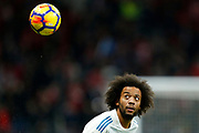 Real Madrid's Brazilian defender Marcelo warms up before the Spanish championship Liga football match between Atletico Madrid and Real Madrid on November 18, 2017 at the Wanda Metropolitano in Madrid, Spain - Photo Benjamin Cremel / ProSportsImages / DPPI