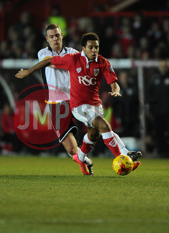 Bristol City's Korey Smith is fouled by Port Vale's Tom Pope  - Photo mandatory by-line: Joe Meredith/JMP - Mobile: 07966 386802 - 10/02/2015 - SPORT - Football - Bristol - Ashton Gate - Bristol City v Port Vale - Sky Bet League One