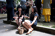 HANNAH HILL; ALEXIS SHEFFIELD, Sebastian Horsley funeral. St. James's church. St. James. London afterwards in the church garden. July 1 2010. -DO NOT ARCHIVE-© Copyright Photograph by Dafydd Jones. 248 Clapham Rd. London SW9 0PZ. Tel 0207 820 0771. www.dafjones.com.