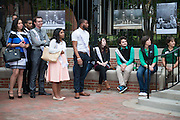 Members of Ohio University's Homecoming Court attend the newly-renovated College Gateway ribbon-cutting ceremony on October 8, 2016.