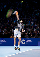 Tennis - 2019 Nitto ATP Finals at The O2 - Day Two<br /> <br /> Singles Group Andre Agassi: Daniil Medvedev vs. Stefanos Tsitsipas<br /> <br /> Stefanos Tsitsipas (Greece) serving <br /> <br /> COLORSPORT/DANIEL BEARHAM<br /> <br /> COLORSPORT/DANIEL BEARHAM