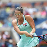 2017 U.S. Open - August 28.  Viktoria Kuzmova of Slovakia in action against Venus Williams of the United States on Arthur Ashe Stadium during the Women's Singles round one match at the US Open Tennis Tournament at the USTA Billie Jean King National Tennis Center on August 28, 2017 in Flushing, Queens, New York City.  (Photo by Tim Clayton/Corbis via Getty Images)