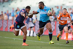 March 17, 2018 - Sydney, NSW, U.S. - SYDNEY, NSW - MARCH 18: Waratahs player Taqele Naiyaravoro (23) palms off a Rebels defender at round 5 of the Super Rugby between Waratahs and Rebels at Allianz Stadium in Sydney on March 18, 2018. (Photo by Speed Media/Icon Sportswire) (Credit Image: © Speed Media/Icon SMI via ZUMA Press)