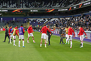 Manchester United players warm up during the UEFA Europa League Quarter-final, Game 1 match between Anderlecht and Manchester United at Constant Vanden Stock Stadium, Anderlecht, Belgium on 13 April 2017. Photo by Phil Duncan.