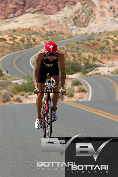 Athletes compete during the Leadman Triathlon in Boulder City, NV on May 14, 2011. The swim started at Boulder Beach which transitioned to a bike that travelled through the Valley of Fire then back to Boulder Beach that turned into a run which proceeded to end in Downtown Boulder City.