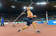 Magnus Kirt (EST) places second in the javelin at 287-3 (87.57m) during the Weltklasse Zurich in an IAAF Diamond League meeting at Letzigrund Stadium in Zurich, Switzerland on Thursday, August 30, 2018.(Jiro Mochizuki/Image of Sport)