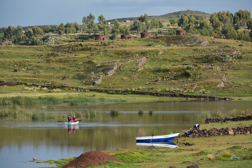 South America, Peru,Sillustani, lake