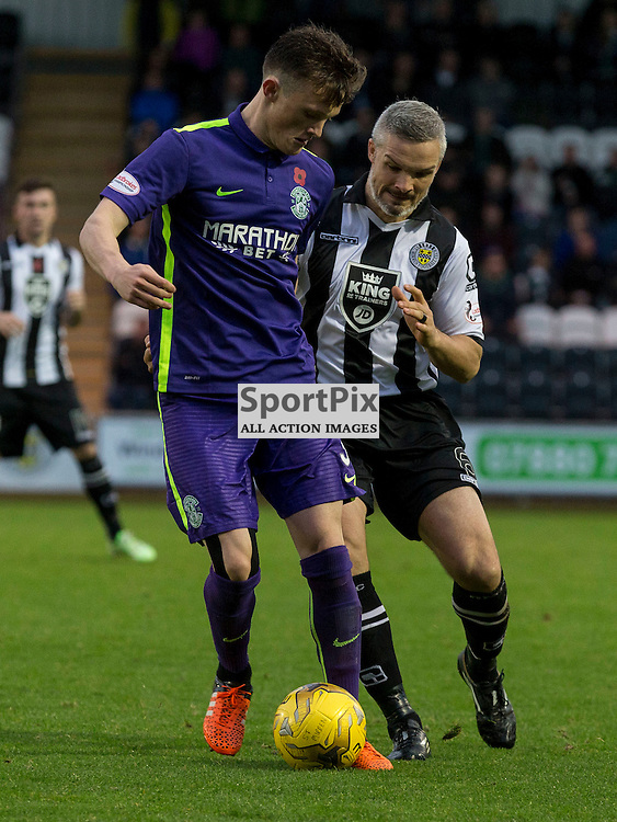 Liam Henderson (Hibernian) and Jim Goodwin  (St Mirren) during the Ladbrokes Championship match between St Mirren v Hibernian at St Mirren Park on Saturday 7 November 2015<br /> <br /> Picture: Alan Rennie
